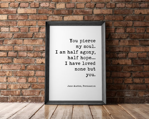 Half Hope FREE POSTER WITH EVERY ORDER! JANE AUSTEN POEM Minimalist Wall Art Typography Poster Poetry Quote Print Half Agony