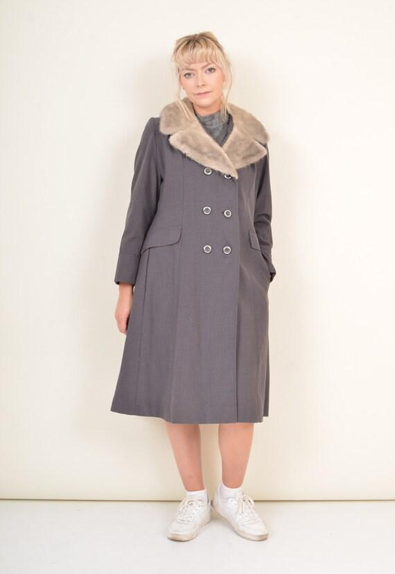 Vintage 60's | Fur Trim Wool Coat | Grey | SIZE S/