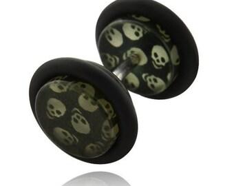 Black acrylic fake Plug Stainless Surgical Steel shiny AB coated acrylic jewel 8mm