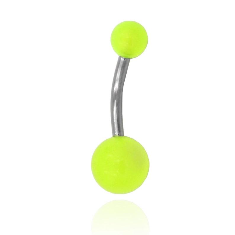 Acrylic Belly Button banana aurora green balls 10mm BNL-1484