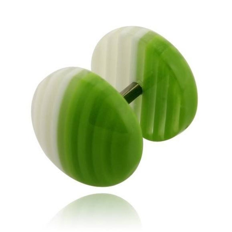 Acrylic fake Plug Stainless Surgical Steel layer dome green and white 10mm