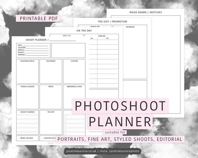 Photoshoot Planner Printable Download  Portrait Fine Art image 0