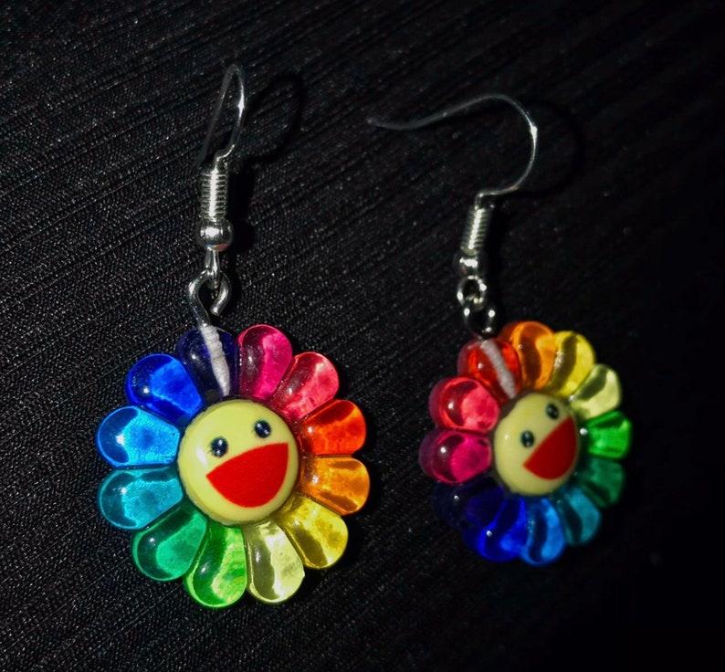 Takashi Murakami Inspired Silver Plated earrings Rainbow Smiley Flower Earrings sterling silver 925 hook