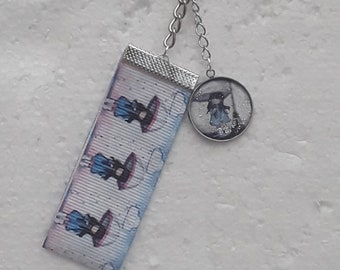key door ring coarse grain ribbon resin cabochon bag jewelry gorjuss with umbrella in the rain
