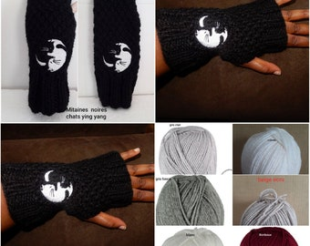 knit grey cats acrylic,21 cm wool fingerless gloves mittens Mittens dark ying yang embroidery;  white kittens