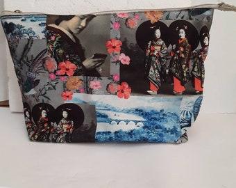 Japanese women's clutch kit Japan lined zipper 25/15/5m cotton