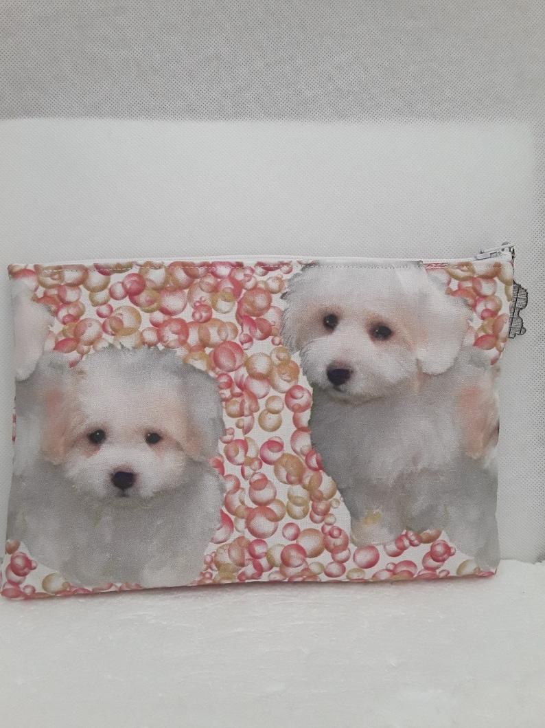 pouch bichons whites 2214cm storage case lined zipper cotton charm dogs kit