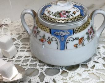 Vintage Sugar bowl with Lid - Noritake - Blue, Yellow, Pink and Orange Design