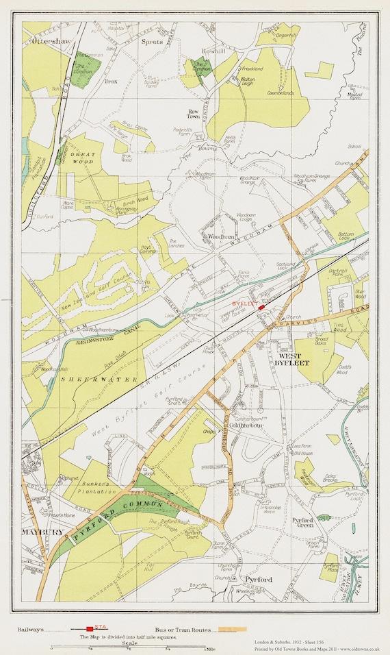 Surbiton Tolworth area Map London 1932 #119-120
