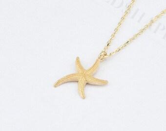 Tiny Starfish Necklace, 14K Gold, Christmas Gift, Bridesmaid Gift, Wedding Gift, Anniversary Gift, Birthday Gift.