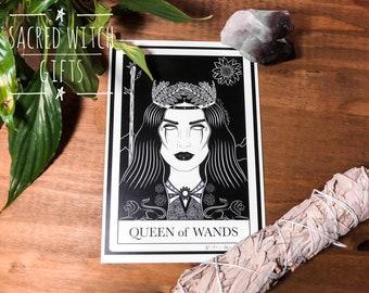 Queen of Wands Tarot Card Art Print, Pagan, Wicca, Handmade, Gothic, A5, A4