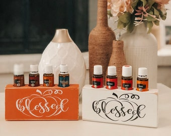 Blessed ~ Fall Essential Oil Block ~ Pumpkin ~ Oil Storage ~ Oil Shelf ~ 15ml ~ Young Living