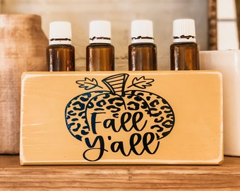 Fall Y'all Pumpkin with Leopard Print ~ Essential Oil Block ~ Oil Storage ~ Oil Shelf ~ 15ml or 5ml ~ Young Living ~ Doterra
