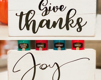 Give Thanks/Joy To The World ~ Double Sided ~ 2 in 1 ~ Essential Oil Block ~ Oil Storage ~ Oil Shelf ~ 4 15ml or 5ml ~ Young Living
