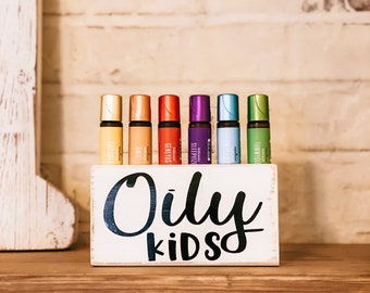 Oily Kids Roller Block ~ Essential Oil Block ~ Oil Storage ~ Oil Shelf ~ Roller Bottle ~ 6 hole ~ Young Living ~ Team gifts