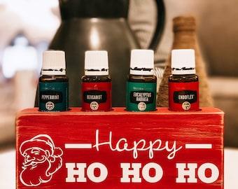 Happy Ho Ho Ho ~ Essential Oil Block ~ Oil Storage ~ Oil Shelf ~ 15ml or 5ml ~ Young Living ~ Christmas ~ Santa