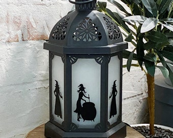 Lantern Witch Silhouette, set of 3 figures ~ Vinyl Decal