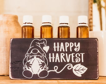 Happy Harvest Gnome  ~ Essential Oil Block ~ Oil Storage ~ Oil Shelf ~ 15ml or 5ml ~ Young Living ~ Doterra