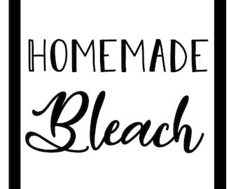 "Homemade Bleach ~ 4 1/2"" x 4 1/2"" ~ Label Only"