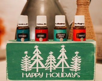 Happy Holidays ~ Essential Oil Block ~ Oil Storage ~ Oil Shelf ~ 4 15ml or 5ml ~ Young Living ~ Christmas