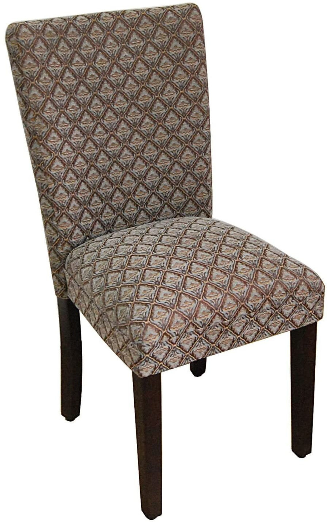 Art Deco Parsons Classic Upholstered Accent Dining Chair, Single Pack, Blue Damask Element of Class for Dining room Home Decorations Gift