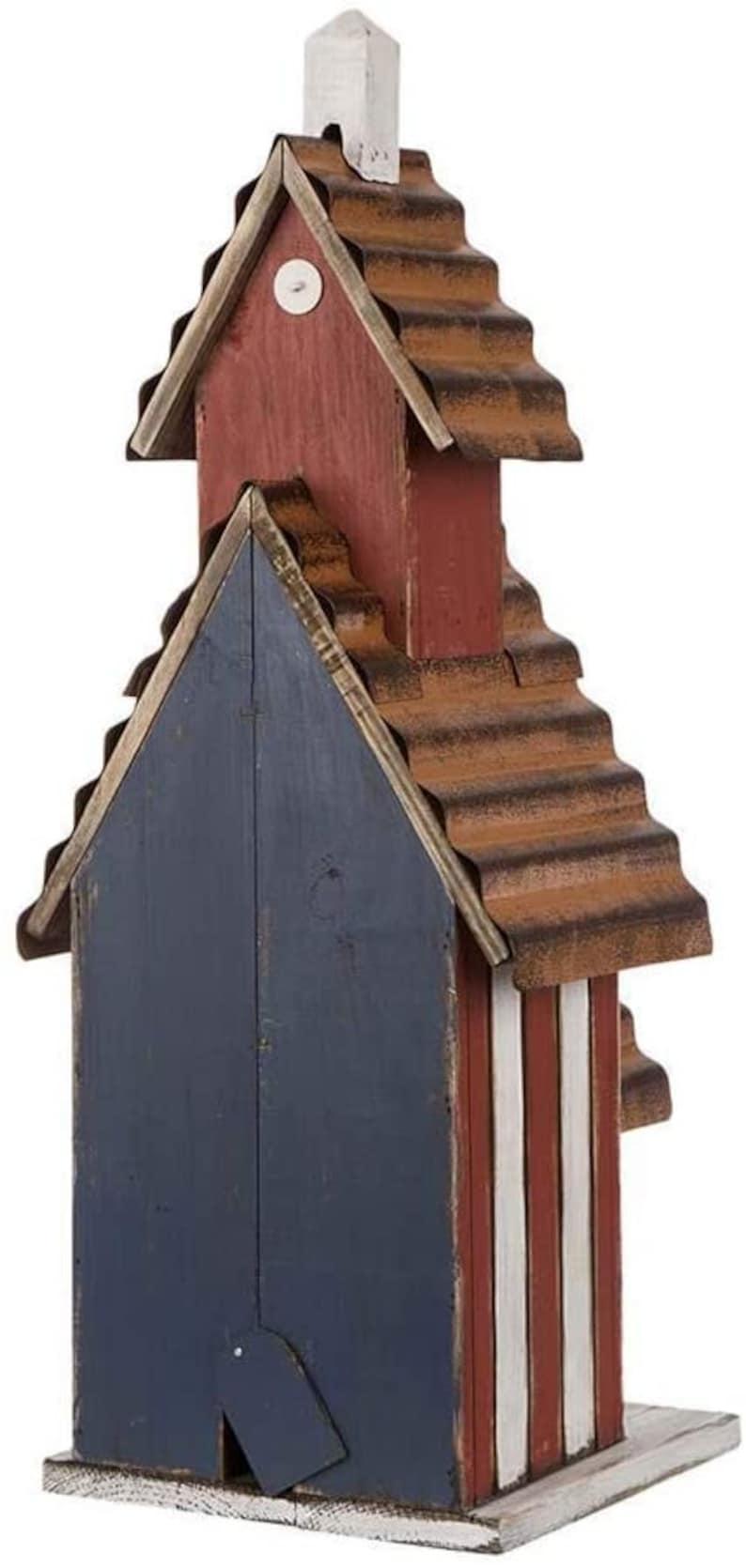 Natural Handmade  Oversized Rustic Wooden Metal Patriotic Birdhouse Distressed Garden Bird House 24.41 H for Garden Lawn Home Decorations