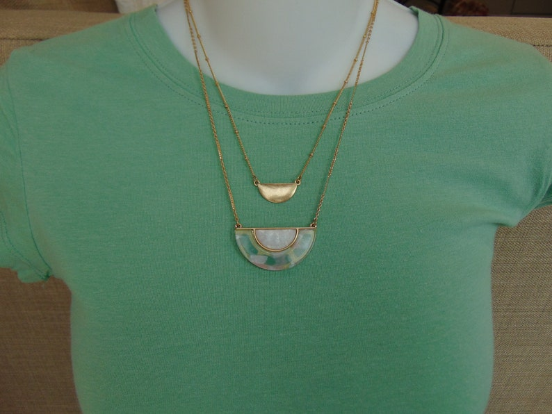 Gold Necklace Set Green Toned White Shell Necklace,Two Strand Necklaces For Layering Halfmoon Layered Necklace Set
