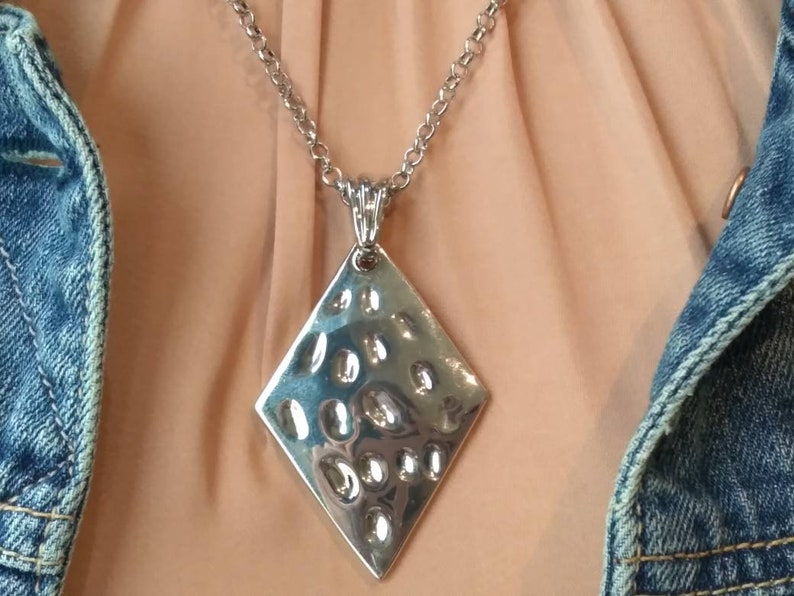 Hammered Silver Necklace Diamond shape hammered silver necklace statement jewelry