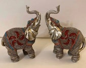 Feng Shui Pair of Lucky Elephant Family Statues with flower design