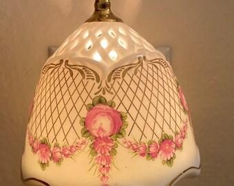Beautiful  Floral wall plug-in Night Light Shade Porcelain Multi Color Nightlight !!