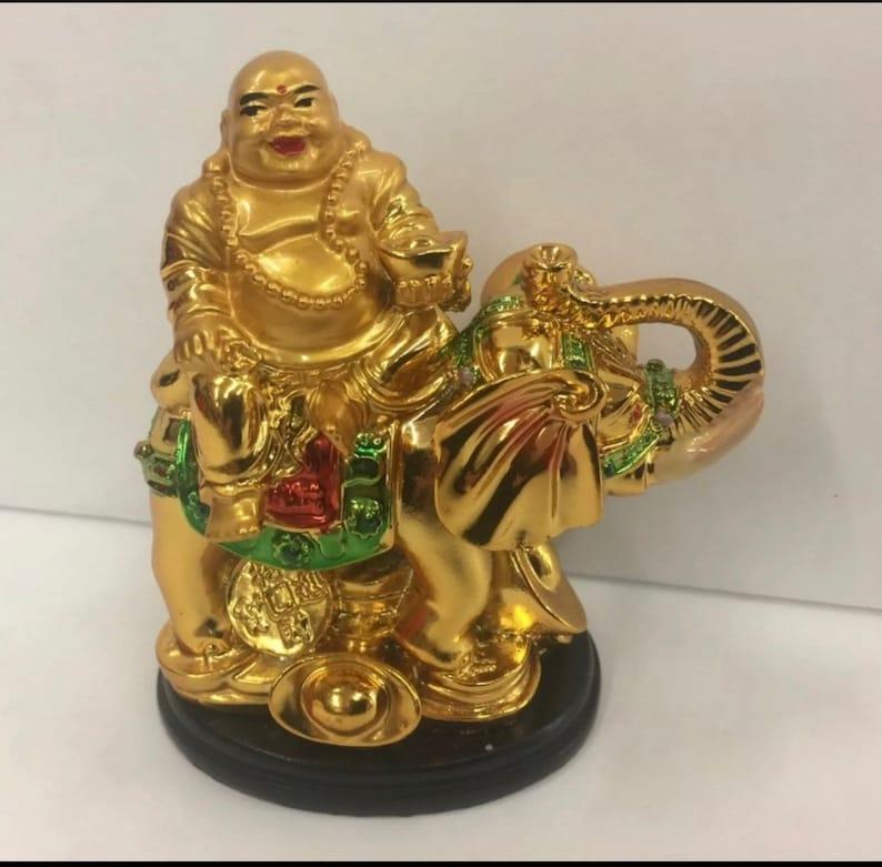 H Chinese Wealth Money Happy Laugh Maitreya Buddha On Elephant Statue 4.5 inch