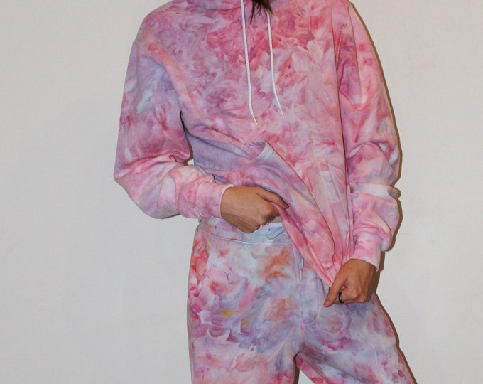 Featured listing image: Tie Dye Sweatsuit Set - Pink Hoodie and Jogger - Adult S/XS