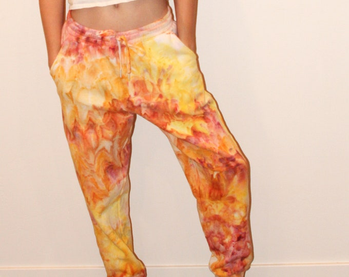 """Featured listing image: Tie Dye Joggers - Orange/Yellow - 'Pants on Fire""""  - Adult Small"""