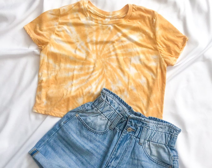 Yellow Marigold Tie Dye Crop Top