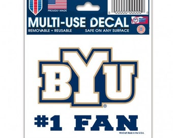 Brigham Young University BYU Cougars NCAA Sticker Vinyl Decal Laptop Water Bottle Car Scrapbook Type 1 Sheet