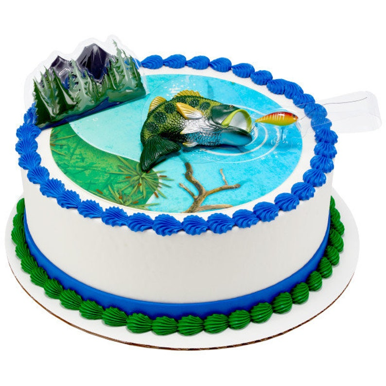 CATCHING The BIG ONE Cake Topper Fishing Hook Pole Tackle Cake Decoration Birthday Decoset