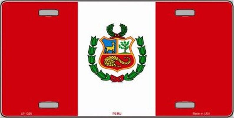 PERU FLAG Metal License Plate