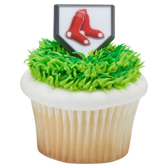 Wondrous 12 Boston Red Sox Cupcake Rings Mlb Home Plate Cake Toppers Etsy Birthday Cards Printable Nowaargucafe Filternl