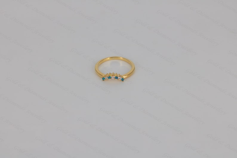 Round Cut Blue Topaz /& Diamond 14k Yellow Gold Over Sterling Silver Engagement Curved Ring For Women