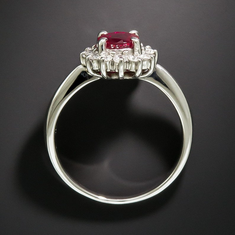Ruby Stone 14k White Gold Over Sterling Silver 0.28 Ct Diamond Classic Estate Ring Women