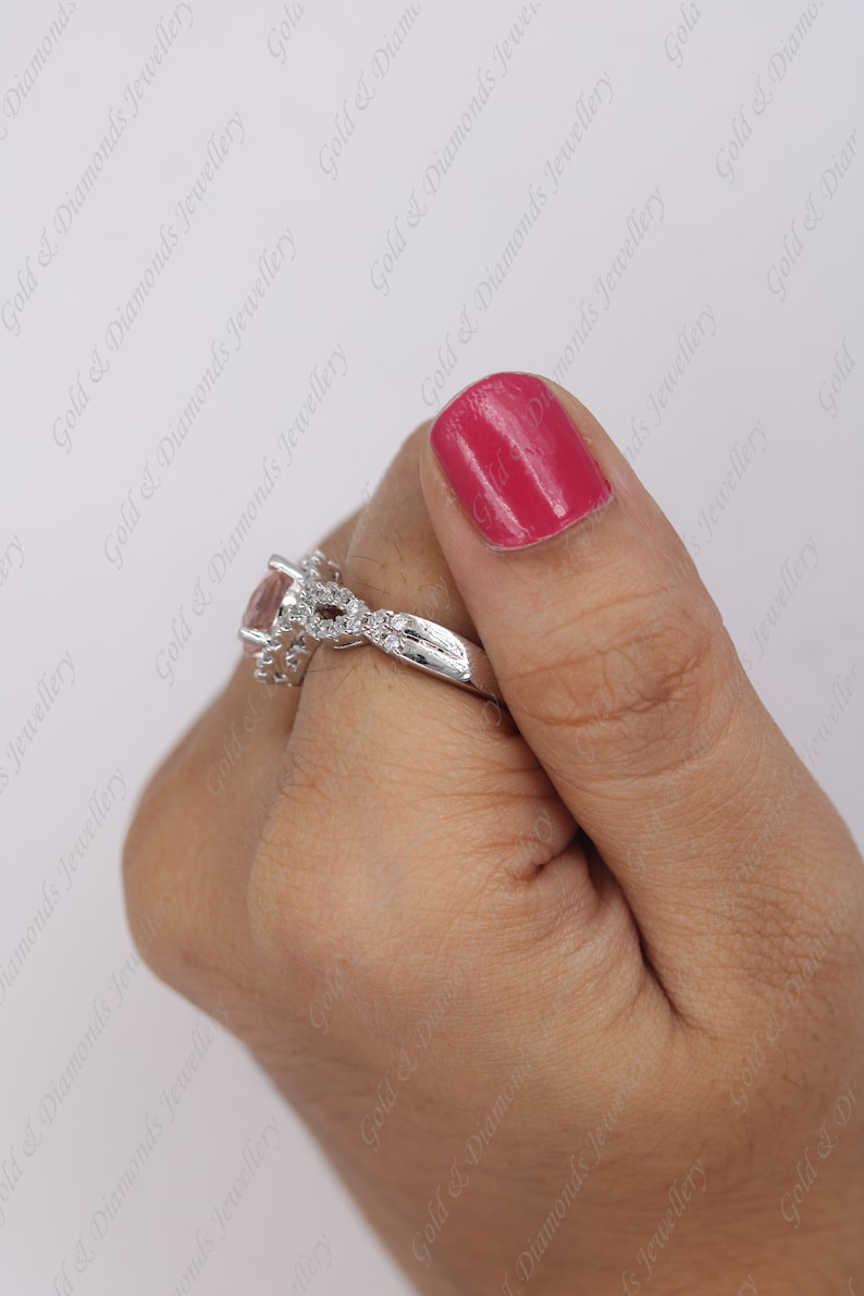 Round Cut Morgonite  /& Diamond 14k White Gold Over Sterling Silver Anniversay Ring For Women