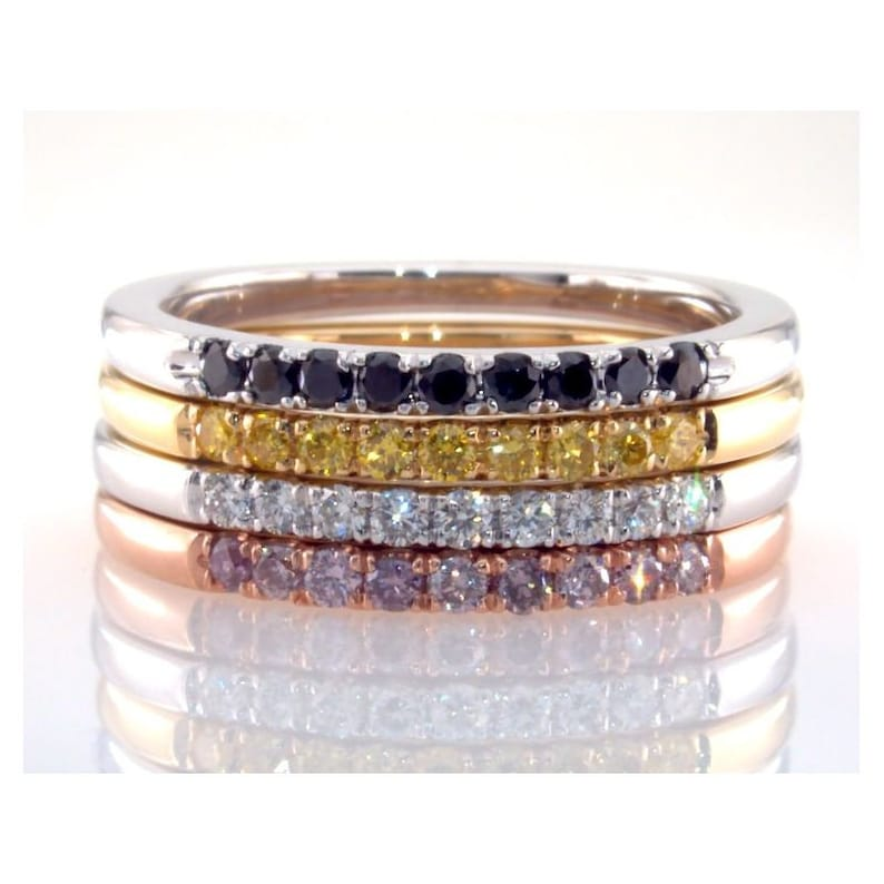 14K White Gold 925 Sterling Silver Stack able Multi Pal Color Stone Engagement Wedding Band Ring Women