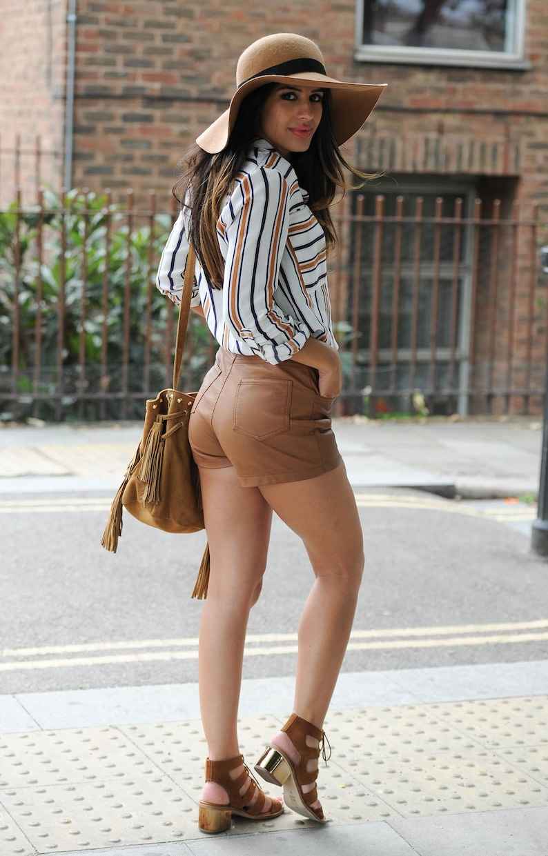 Designer genuine  leather  Handmade  Leather Shorts for woman Guaranteed delivery within 4 working  days after dispatch