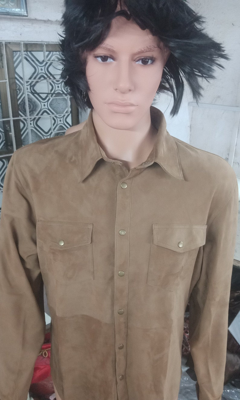 Guaranteed delivery within 4 working  days after dispatch Designer genuine  leather  Handmade Man Beige Color Suede Leather shirt