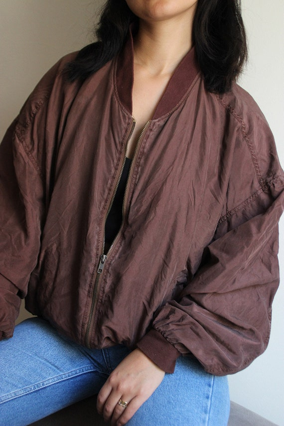 Vintage Windbreaker Silk, Jacket Brown real silk v
