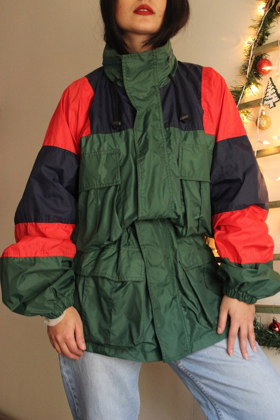 Vintage Windbreaker Rainjacket, Green Jacket  Wind