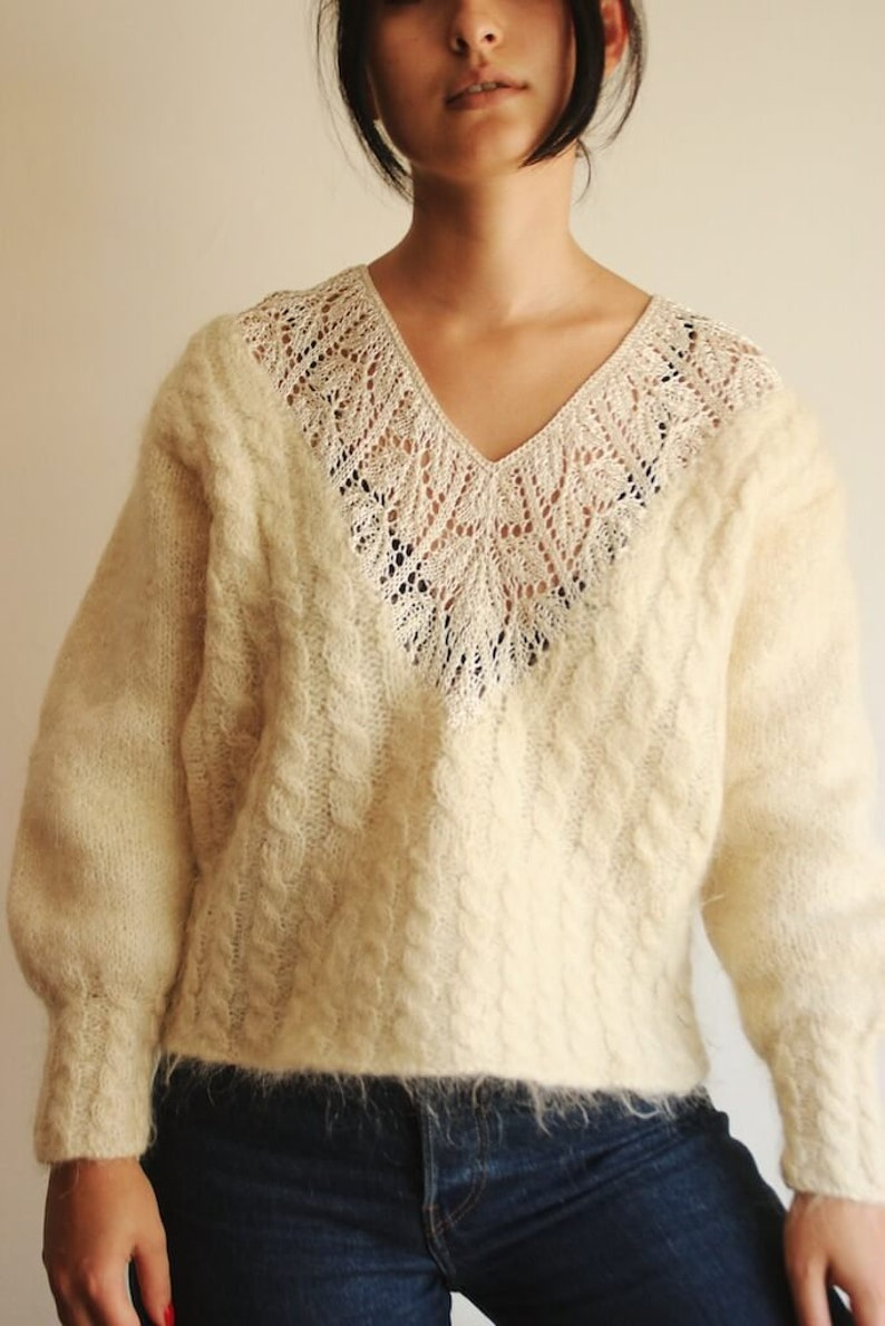 Vintage Mohair sweater Mohair oversized sweater Sweaters for women Women sweater embroidered sweater Handmade Floppy sweater Beige