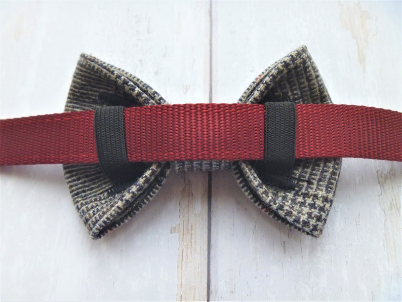 Prince of Wales check wool dog bow tie