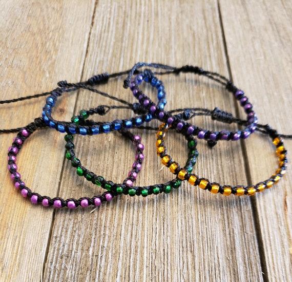 Stackable String Bracelet Adjustable PurpleGold Polyester Waxed Cord Gift Spiritwear Waterproof