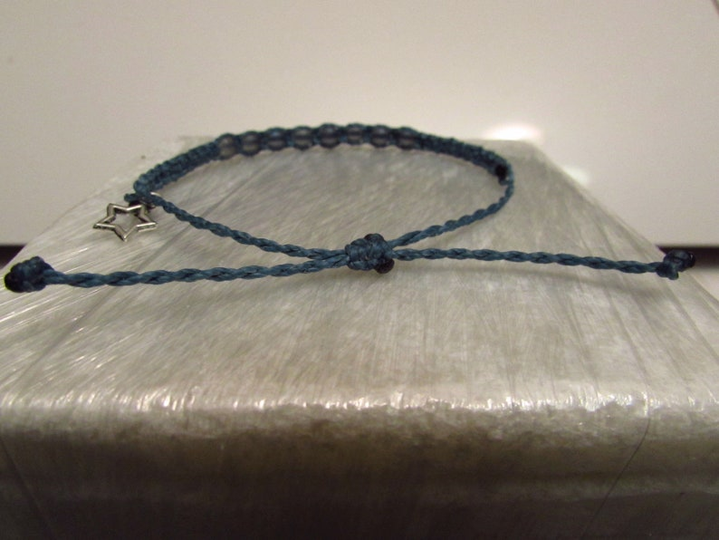 Frosted Teal Beads Surfer Glass Bead String Bracelet Silver Star Charm Teal Cord Adustable Waterproof